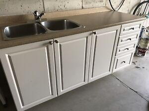 Kitchen cupboards with sink