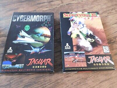 ATARI JAGUAR BOXED GAMES - SUPER CROSS 3D & CYBERMORPH - WORKING