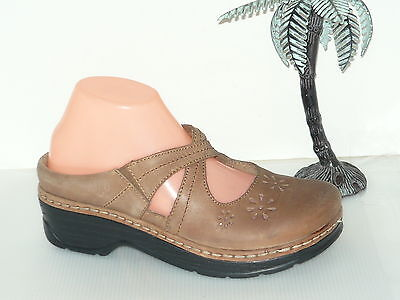 Klogs Tan Brown Leather Clogs Mary Janes Mules Slides 8.5M