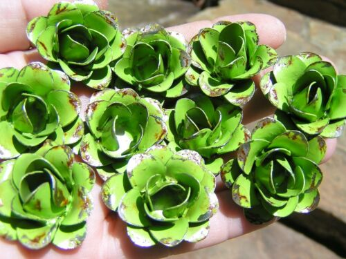 TEN metal green roses, flowers for crafts, jewelry, accents, embellishment