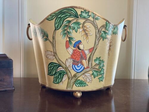 """VTG Large Hand Painted Tole Scalloped Chinoiserie Monkey Cachepot Planter 13.75"""""""