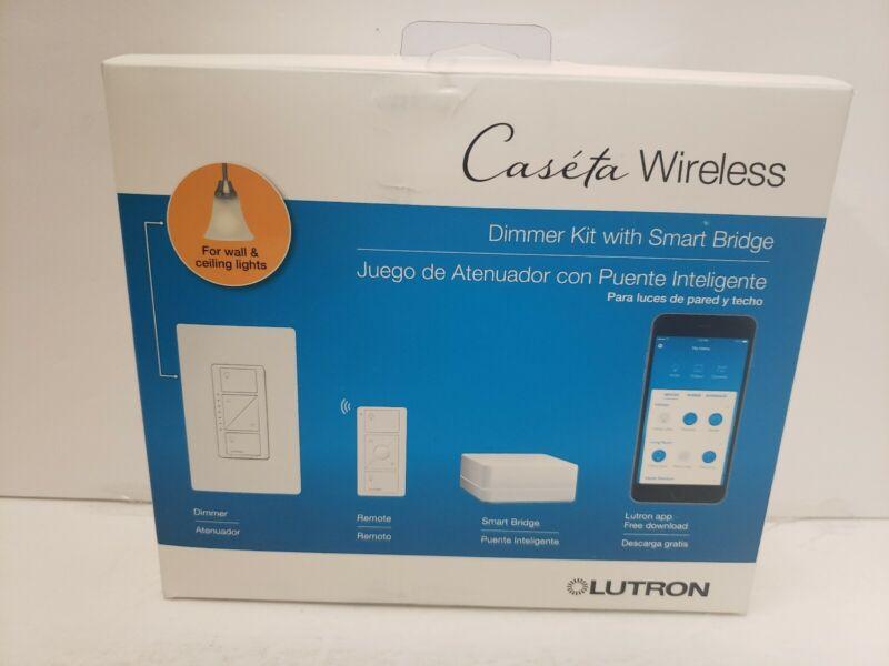 Lutron P-BDG-PKG1W Caseta Wireless In-Wall Dimmer Kit w Smart Bridge White - NEW