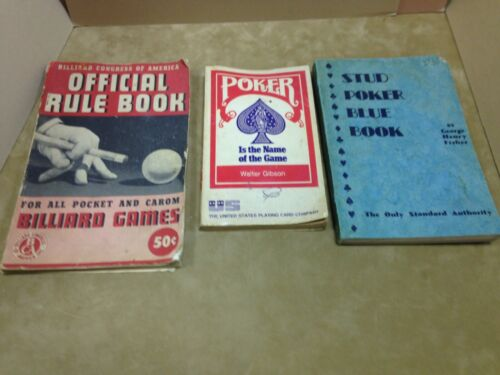 3 Books Lot POKER Advanced Strategy Stud Poker Blue Book, Billiard Games, 1940