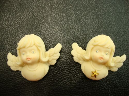 """Lot of 2 Tom Rubel Christmas Angel Pin 1.5"""" X 2"""" Signed"""
