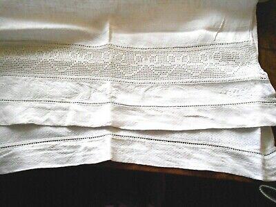 VINTAGE WHITE CROCHET FLOWERS HUCKABACK LINEN TOWEL LADDER TRIM BATH ANTIQUE