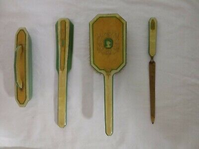 Vintage Art Deco Dupont Lucite Vanity Set with Cameo Woman Green / Yellow