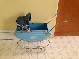 Vintage 1950's Tin Toy Doll Stroller