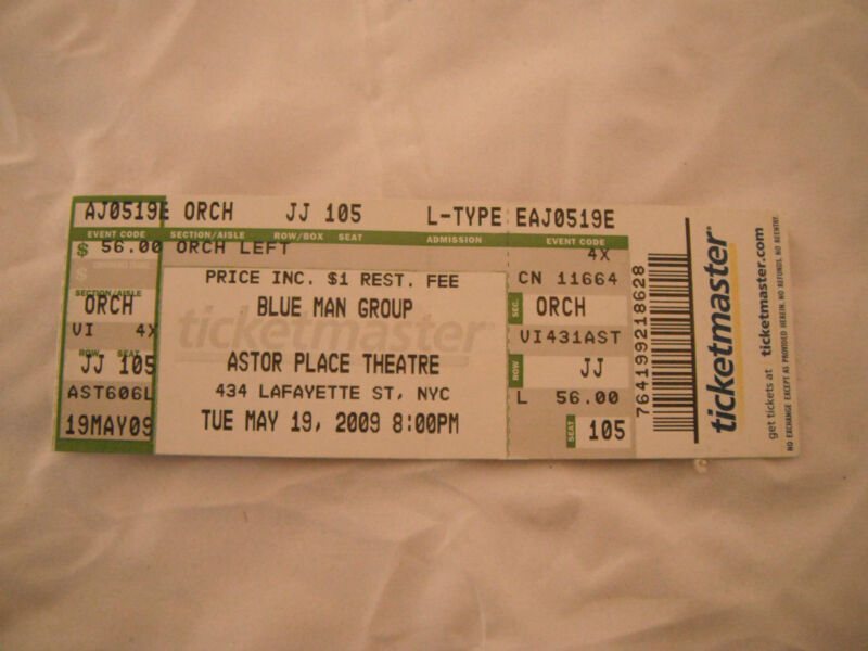 Blue Man Group Unused Concert Ticket May 19 2009 NYC Astor Place Theatre