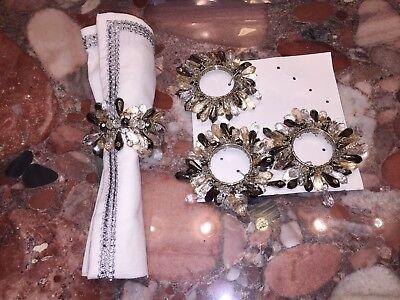 Nwt Kim Seybert Neiman Marcus Silber Diamant Kristall-Tropfen Servietten Ringe Kim Seybert Servietten