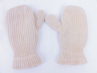 Hand Made Knit Mittens Womans Large Cream Color Double Layered Double Layer Mittens
