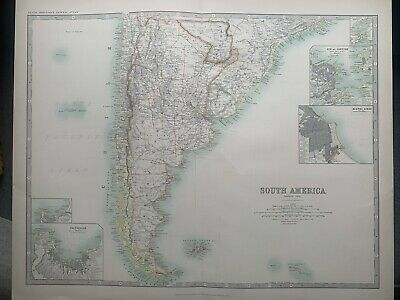1912 South America (South part) Large Original Antique Map by W. & A.K. Johnston