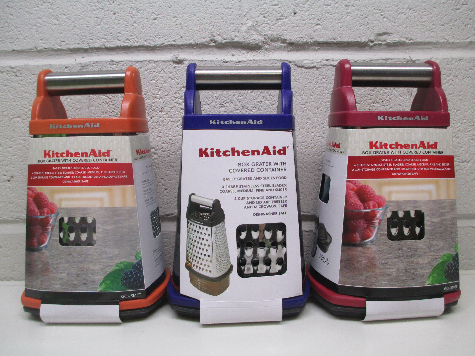 KitchenAid box grater with covered container in choice of co