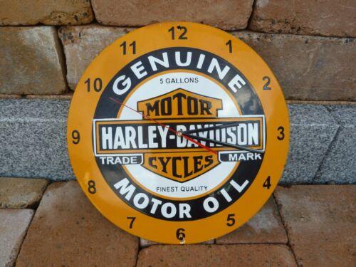 "HARLEY Wall Clock Porcelain Sign Vintage Biker Motorcycle Advertising 16"" Domed"