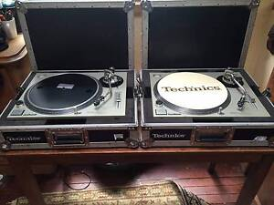 2 Technics 1200 MK2 turntables + Technics road cases and needles Petersham Marrickville Area Preview