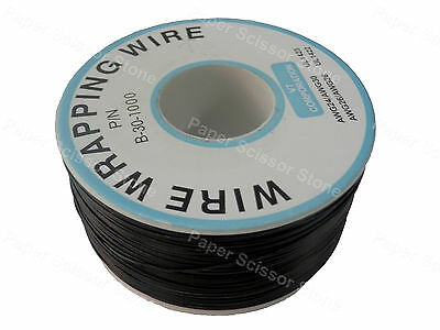 Black 1000ft 30awg Wrapping Wire Cable Roll