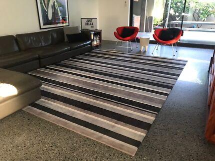 Large wool rug custom made grey/black/cream striped