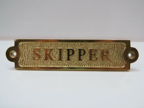 "1+1/4 x 5+1/2 Inch Aluminum Plated With Brass ""Skipper"" Sign -(B5C291)"