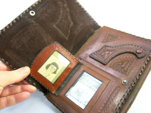 Vintage Leather Wallet Old Leather Wallet Made in Mexico Leather Wallet Purse