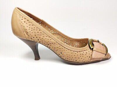 Moda In Pelle Tan Leather Mid Heel Shoes Uk 3 Eu 36