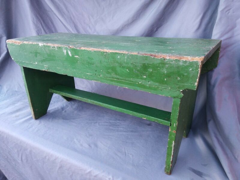 "Antique Rustic Primitive Farm Folk Pine Bench nice paint 32"" length 16"" height"