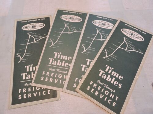 1941-6 Lot of 4 Illinois Terminal Railroad Company Freight Timetables