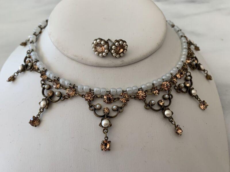 MICHEL NEGRIN Swarovski Crystals Light Brown Amber Choker PLUS Matching Earrings