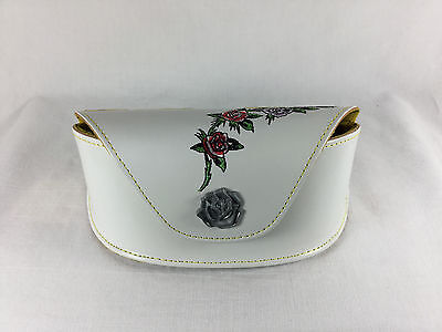 (Ed Hardy Eyeglass Sunglass Case  White with Roses and Butterflies)
