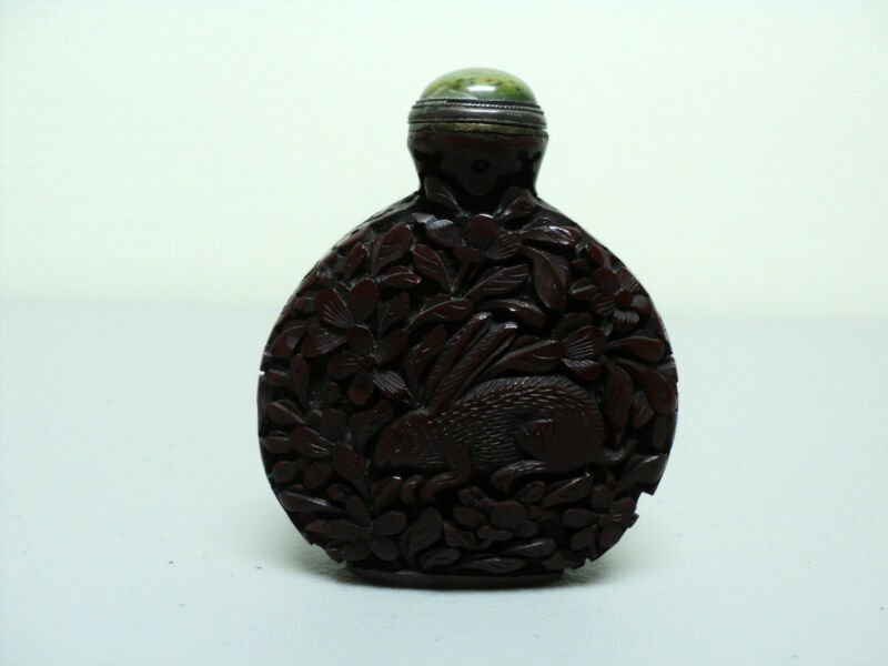 FABULOUS 19th C. CHINESE RED LACQUER / CINNABAR SNUFF BOTTLE with RABBITS