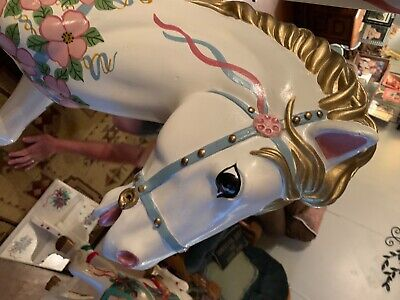 vintage dollywood horse carousel full size 90's hand painted Beautiful at ParK