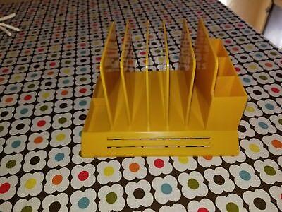 Vintage Max Klein Bright Yellow Desk Organizer