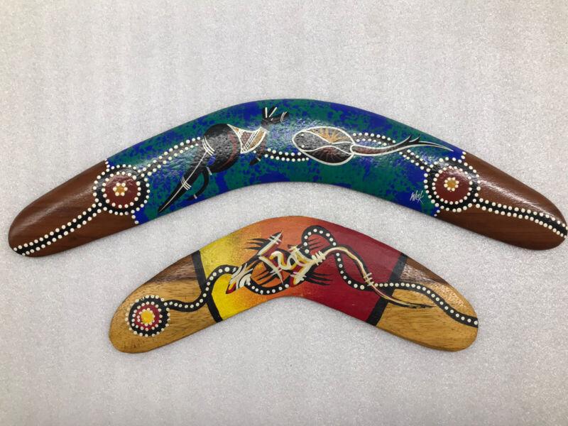 Boomerang 2 Set Made In Australia Collectible Hand Made Aboriginal Art