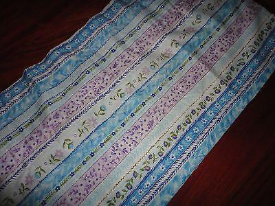 Stripe Blue Tailored Valance - CHF BOHO BOHEMIAN FLORAL STRIPE BLUE PURPLE GREEN TAILORED BLOUSON VALANCE