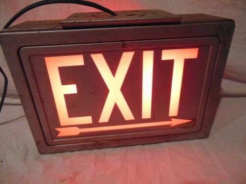 """vintage Day Bright Fixtures double sided light up EXIT Box #B-81758 UL USA 13"""""""