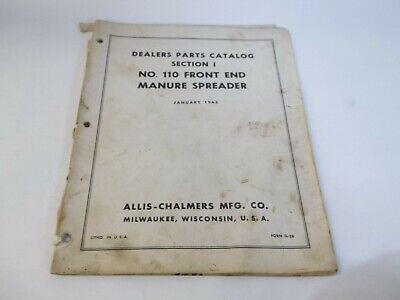 1965 Allis Chalmers No. 110 Front End Manure Spreader Dealer Parts Catalog