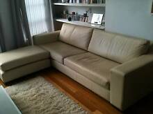 Leather three seater sofa plus ottoman Petersham Marrickville Area Preview