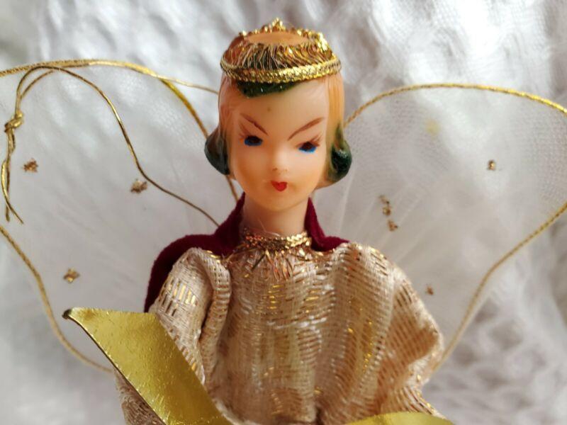 "Vintage 9"" Christmas Tree Topper Angel Mesh Wings Red Crushed Velvet Gold"