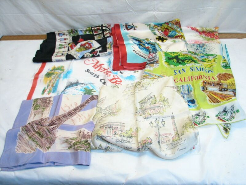 Vintage Travel Silk Scarf Souvenir Lot Textile Handkerchief US Europe France