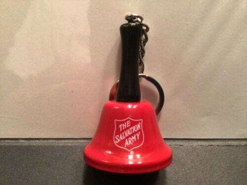 """The Salvation Army Mini 2"""" Red Christmas Bell Key Ring Keychain Collectible *"""