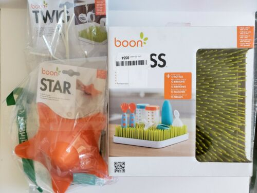 Boon Baby Infant Grass Countertop Drying Rack, Twig and Star Drain Cover