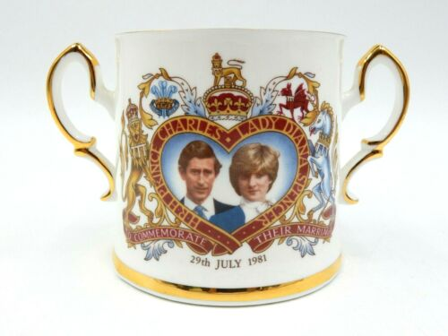 VINTAGE ROYAL WEDDING PRINCE CHARLES PRINCESS LADY DIANA GOLD TRIMMED CHINA CUP