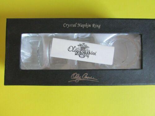 Oleg Cassini Crystal Napkin Rings - Set of 4, NIB-Signed