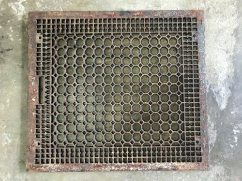 LARGE 26 × 29 Vintage Antique Victorian Cast Iron Floor Grate Vent Register