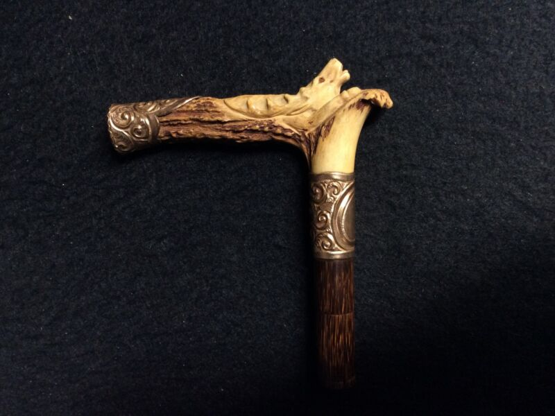 Victorian Carved Stag Walking Stick/ Parasol/ Cane Handle w/ Gold Filled Mounts
