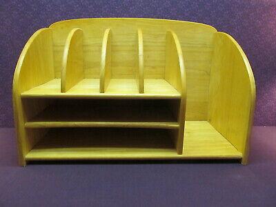 Vintage Pine Solid Wood Desk Organizer 7 Sections File Paper Letter Sorter