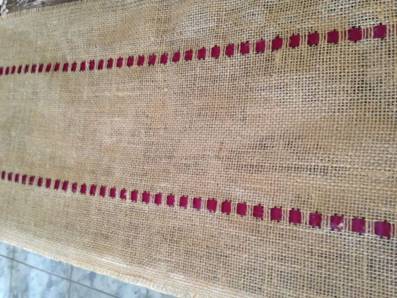 "Table Runner 72"" X 12""  Beatiful ~ Hand-crafted Burlap - Burgundy Ribbon."