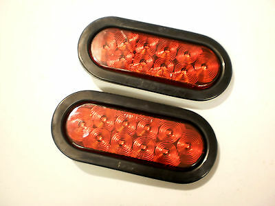 """2- 6""""  LED Light Oval Stop Turn Tail Red Red Grommet Trailer Camper Semi RV"""