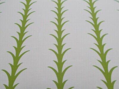 Schumacher Curtain Fabric 'ACANTHUS STRIPE - LEAF' 2 METRES (200cm) Linen Blend Acanthus Leaf Stripe