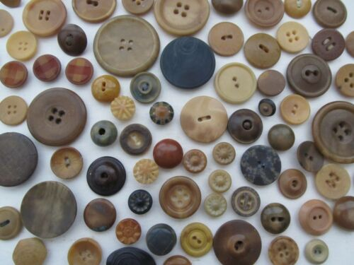 VINTAGE LOT OF 90 ASSORTED VEGETABLE IVORY BUTTONS