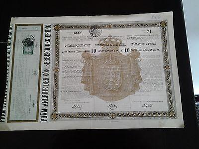 Präm.Anleihe der Königl. Serbisch. Regierung 20.April 1888