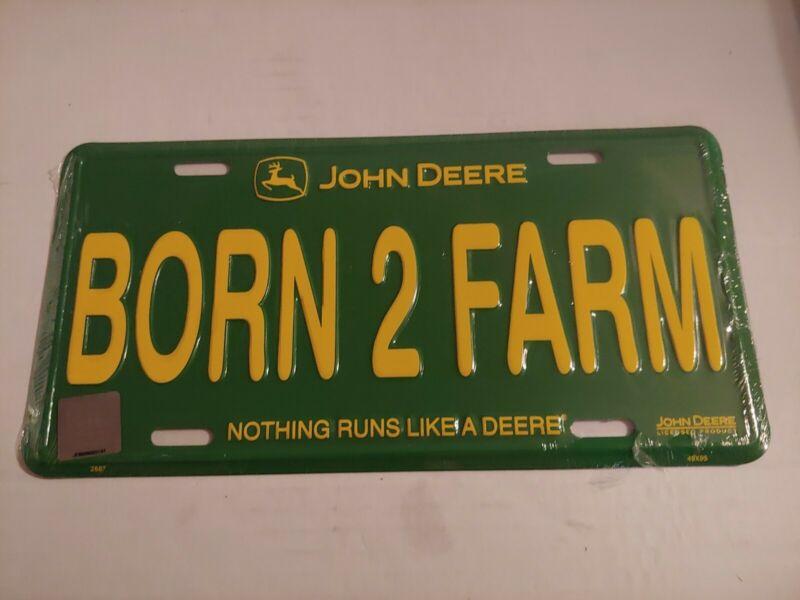 "John Deere Metal Embosed License Plate Born To Farm 12""x 6""  Car Tag wall Sign"